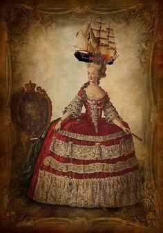 """Marie Antoinette with """"la pouf a' la Belle Poule"""""""