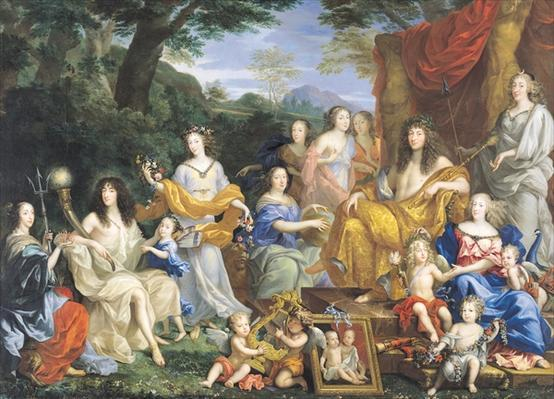 """""""The Family of Louis XIV"""" as Roman deities, painted in 1670 by Jean Nocret."""